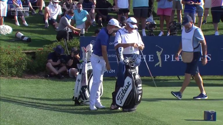 Justin Thomas is left red-faced after flirting dangerously close to the hazard with his tee shot at the final hole of The Players