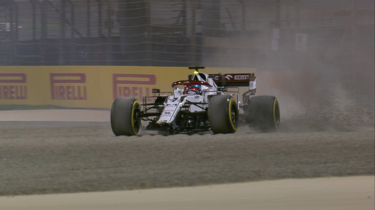 Watch as Kimi Raikkonen's Alfa Romeo limps back to the pits after spinning into the barrier at Turn Three in Bahrain GP Practice Two