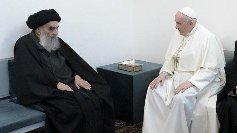 Pope Francis meets with Iraq's top Shi'ite cleric, Grand Ayatollah Ali al-Sistani, in Najaf, Iraq March 6, 2021. Grand Ayatollah Ali al-Sistani office/Handout via REUTERS ATTENTION EDITORS -THIS IMAGE HAS BEEN SUPPLIED BY A THIRD PARTY. NO RESALES. NO ARCHIVES