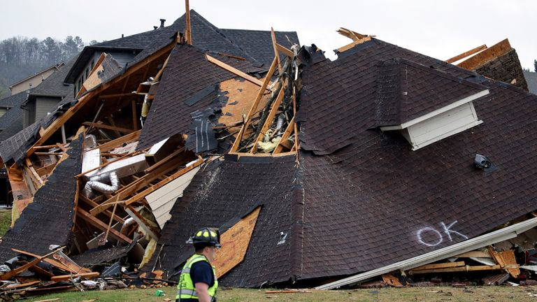 At least five people have died in the tornadoes. Pic: Associated Press