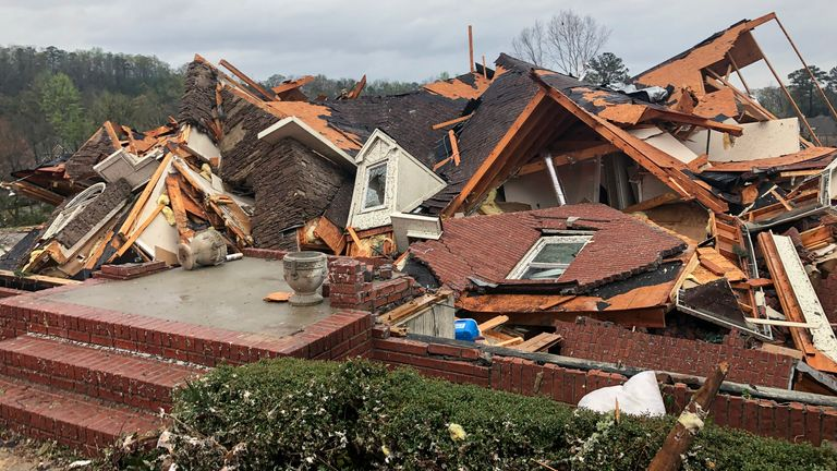 Houses were destroyed in the storms. Pic: Associated Press