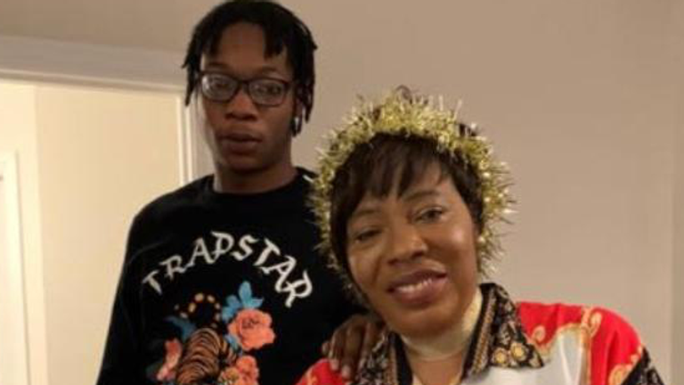 Victoria Oloniluyi pictured with her son Alexander Kareem who was shot dead in west London