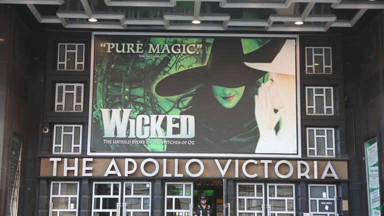 The Apollo Victoria Theatre showing posters from the production Wicked in London. PA Photo. Picture date: Friday January 17, 2020. Photo credit should read: Luciana Guerra/PA Wire