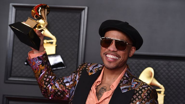 Anderson .Paak won the best melodic rap performance award for Lockdown. Pic: Jordan Strauss/Invision/AP