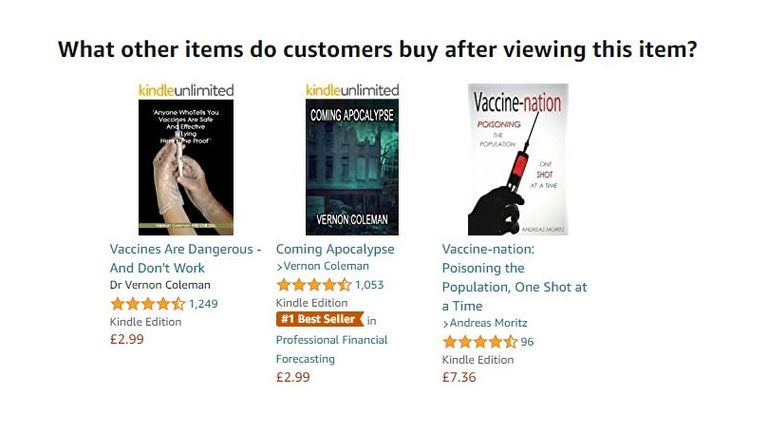 Amazon's algorithm serves you suggestions based off what a user clicks on, including misinformation. Pic: Amazon