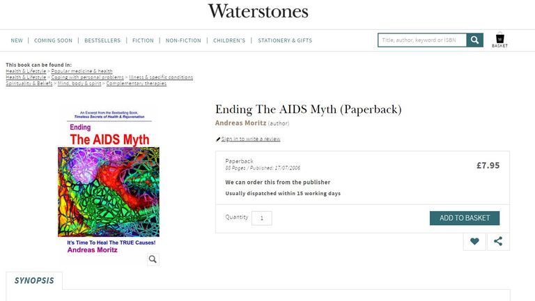 A book denying that AIDS is contagious is available to buy from Waterstones and other retailers. Pic: Waterstones