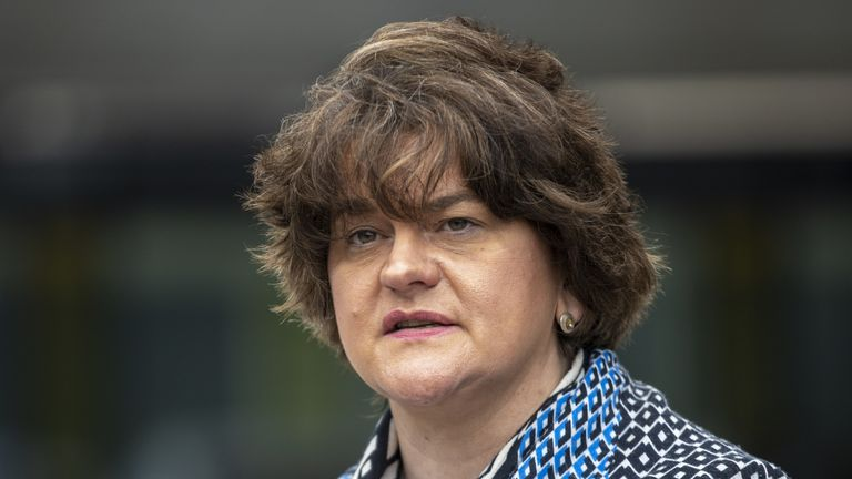 First Minster Arlene Foster during a visit to the Ulster Hospital vaccination centre.