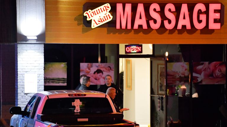 The first shooting was at the Youngs Asian Massage Parlour in Acworth, Georgia Pic: AP