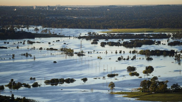 Flood-affected areas as seen from the air in the Windsor and Pitt Town areas along the Hawkesbury River near Sydney