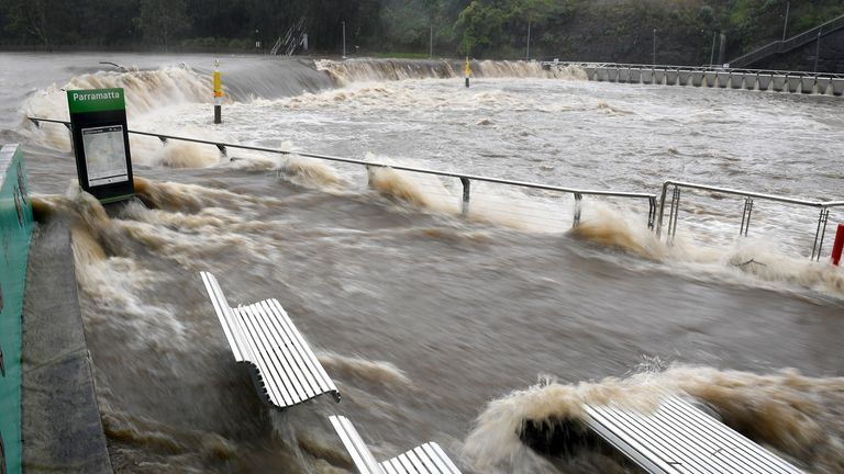 The swollen Parramatta River is seen overflowing in New South Wales