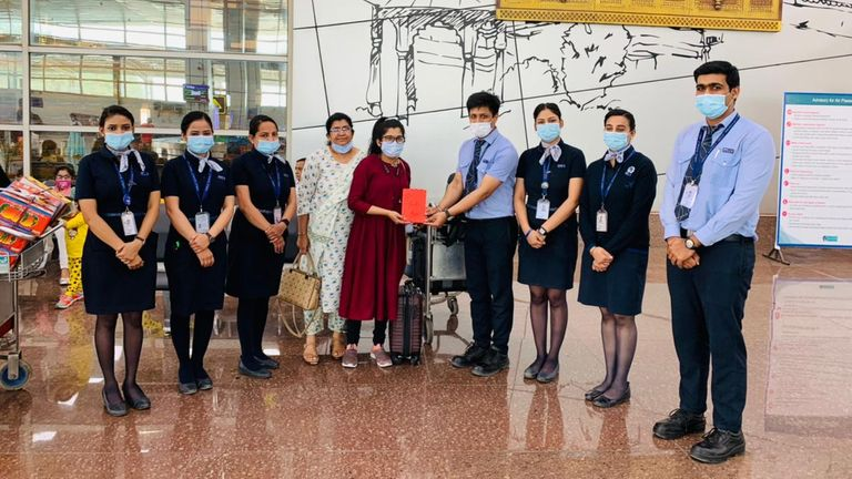 Dr Nazir was thanked by airline staff afterwards. Pic: IndiGo