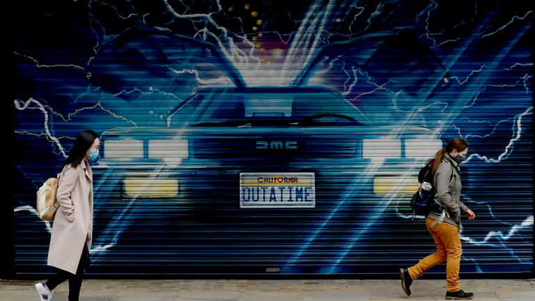 Shuttered for now - but the Delorean will be driving into London's Adelphi Theatre soon. Pic: AP