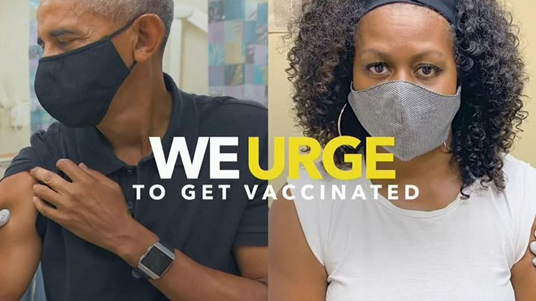 Barack and Michelle Obama being vaccinated against COVID. Pic: Ad Council
