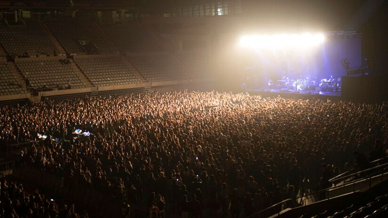 Spanish indie rock and indie pop band Love of Lesbian during their concert at the Palau de Sant Jordi, in Barcelona, Catalonia (Spain), on 27 March 2021. The concert, organized by Festivals per la Cultura Segura is a pilot test without social distance, but in a safe environment. The 5,000 attendees have been tested today with a rapid antigen test so that the negatives can attend the event with the condition of wearing an FFP2 mask. 27 MARCH 2021 Pau Venteo / Europa Press 03/27/2021 (Europa Press