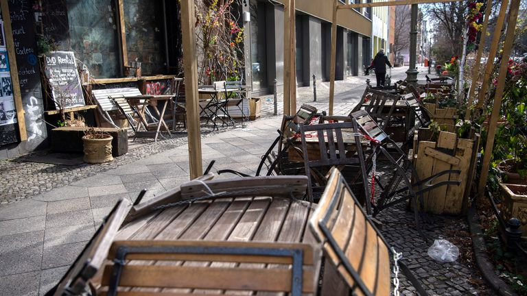 22 March 2021, Berlin: Assembled chairs and tables in front of a catering establishment. Pic: AP