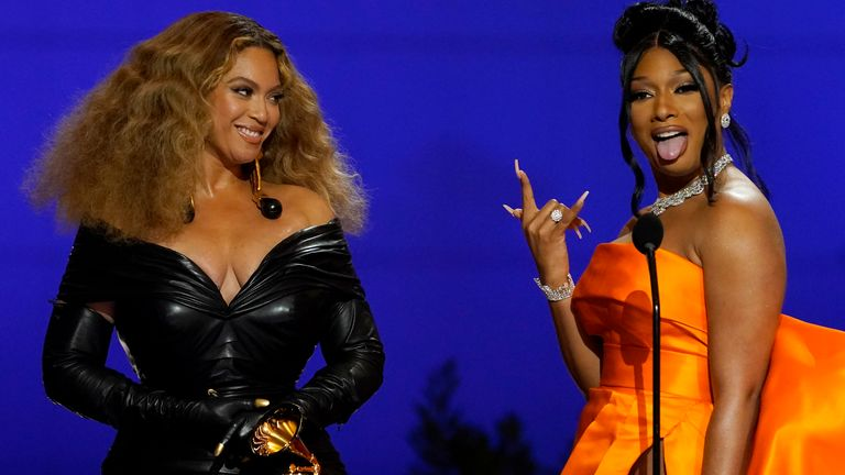 Beyonce (L) and Megan Thee Stallion took the award for best rap song for Savage. Pic: AP