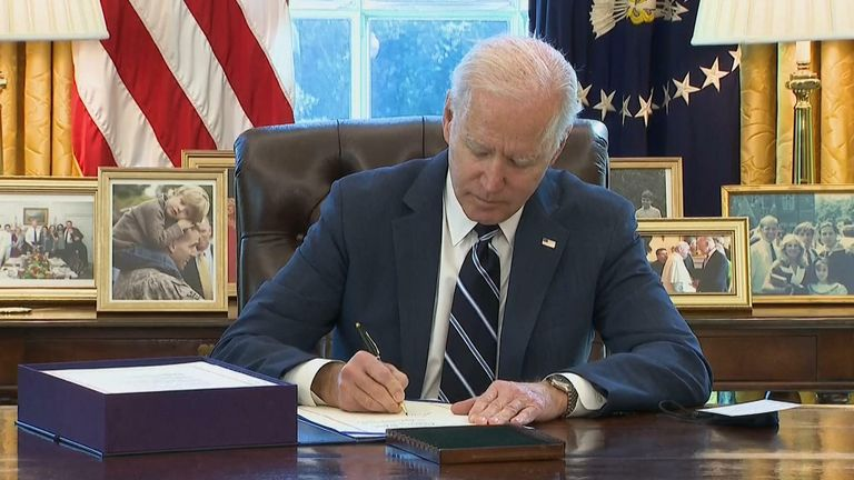 President Joe Biden signed his sweeping $1.9 trillion Covid-19 economic relief package into law on Thursday afternoon.