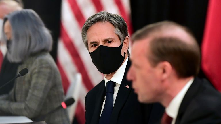 U.S. National Security Advisor Jake Sullivan (R) speaks as U.S. Secretary of State Antony Blinken looks on, at the opening session of U.S.-China talks at the Captain Cook Hotel in Anchorage, Alaska, U.S. March 18, 2021. Frederic J. Brown/Pool via REUTERS