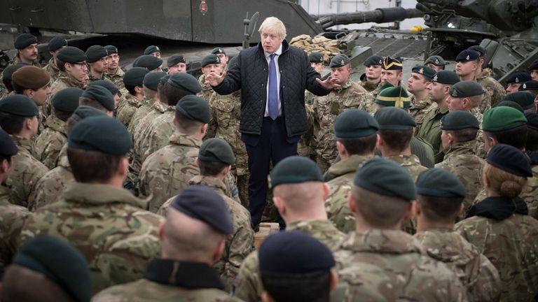 Boris Johnson talking to troops in 2019