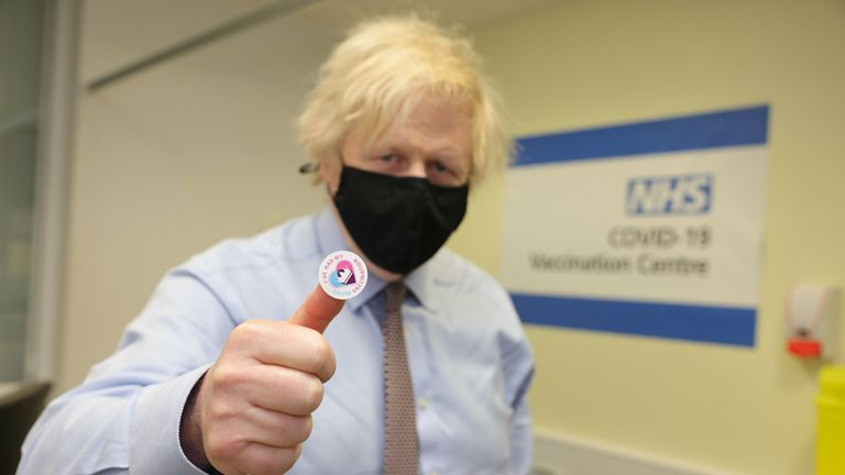 19/03/2021. London, United Kingdom. Boris Johnson has the Covid-19 Vaccine . The Prime Minister Boris Johnson is given the Oxford...AstraZeneca COVID-19 vaccine by nurse Lily Harrington at St Thomas' Hospital in central London. Picture by Andrew Parsons / No 10 Downing Street