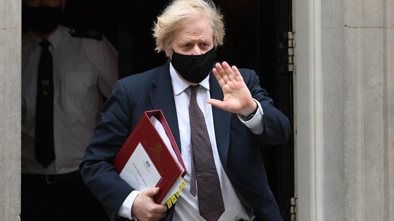 Prime Minister Boris Johnson leaves 10 Downing Street to attend Prime Minister's Questions at the Houses of Parliament, London