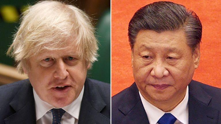 Boris Johnson and Xi Jinping. Pics: Reuters/AP