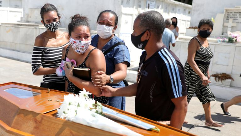 Relatives of Luiz Alves, 63, at his funeral in Rio - Brazil has the world's second-highest COVID death toll