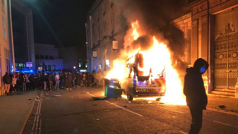 A police van burns in Bristol after the Kill The Bill protest descended into violence. Pic: Martin Booth