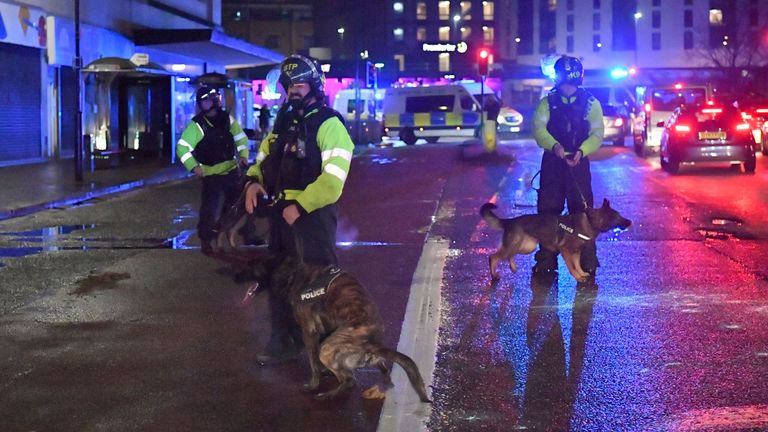A large police presence was on duty throughout the night - with dogs and horses used to move crowds back