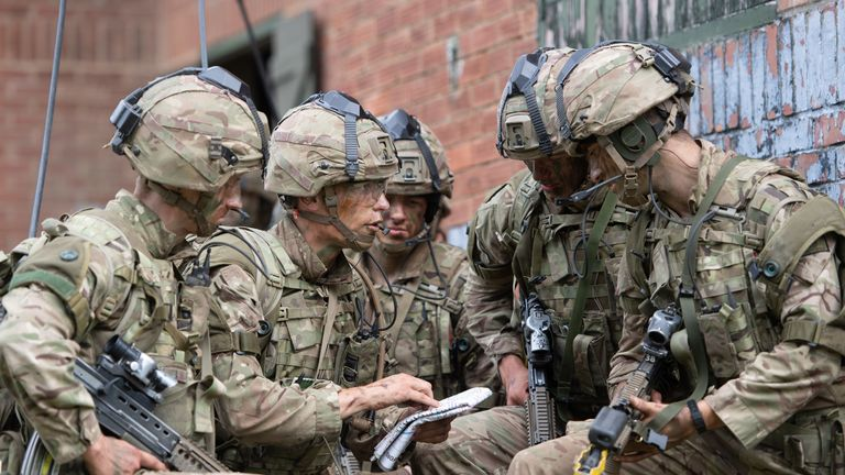 Officer cadets taking part in a training exercise