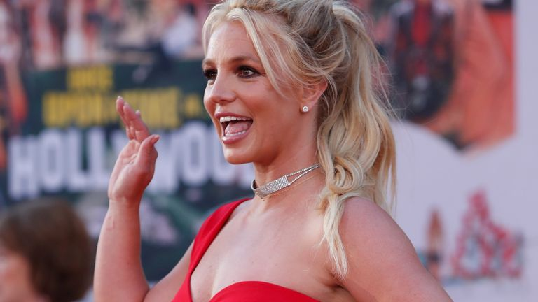 "FILE PHOTO: Britney Spears poses at the premiere of ""Once Upon a Time In Hollywood"" in Los Angeles, California, U.S., July 22, 2019. REUTERS/Mario Anzuoni/File Photo"
