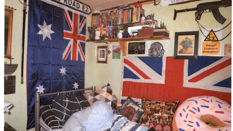 Nicholas Brock stockpiled neo-Nazi memorabilia and has been found guilty of terrorism offences after downloading a bomb-making manual and guides to knife fighting. Pic: Gardham/CTPSE