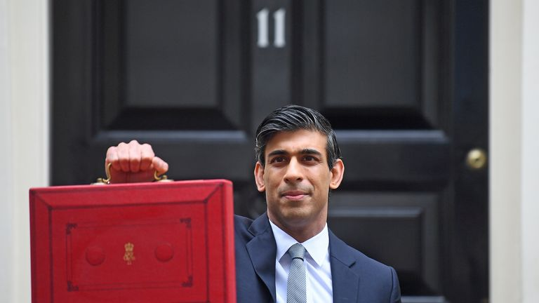 POLITICS Budget Budget 2021 Chancellor of the Exchequer, Rishi Sunak, holds his ministerial 'Red Box' outside 11 Downing Street, London, before heading to the House of Commons to deliver his Budget. Picture date: Wednesday March 3, 2021.