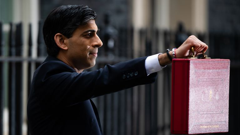 POLITICS Budget Budget 2021 Chancellor of the Exchequer, Rishi Sunak outside 11 Downing Street, London, before heading to the House of Commons to deliver his Budget. Picture date: Wednesday March 3, 2021.