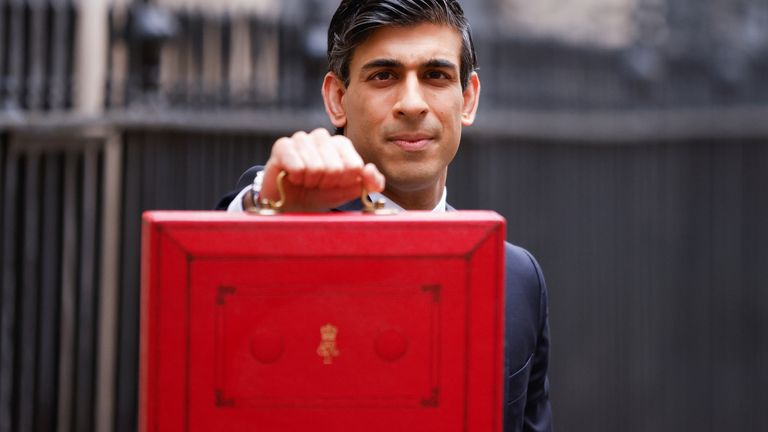 Chancellor of the Exchequer Rishi Sunak holds the budget box outside his office in Downing Street in London