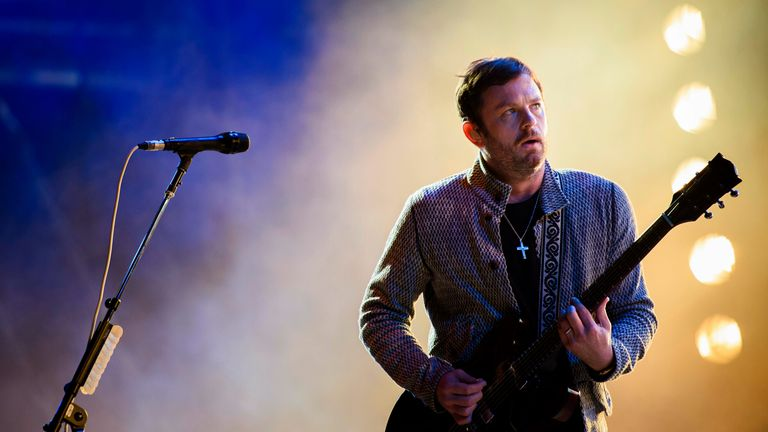 Caleb Followill on stage with Kings Of Leon during the Lollapalooza Festival in 2019. Pic: AP