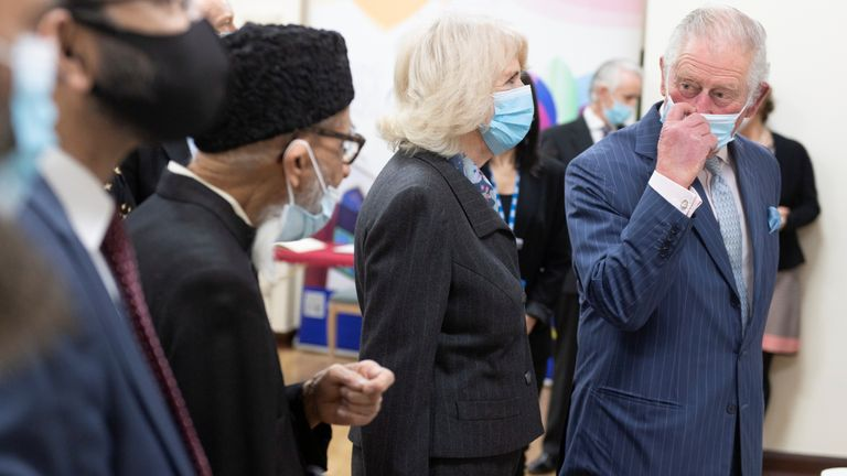 Prince Charles visits a pop-up COVID-19 vaccination centre