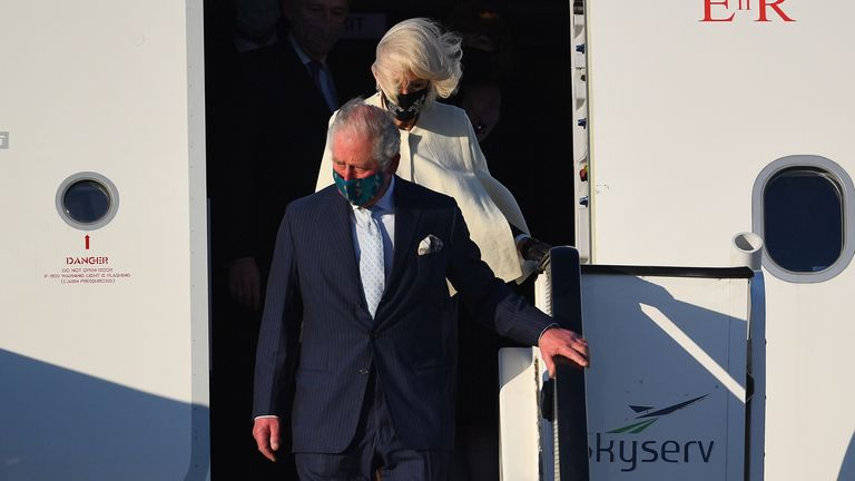 Prince Charles and the Duchess of Cornwall arrive in Greece