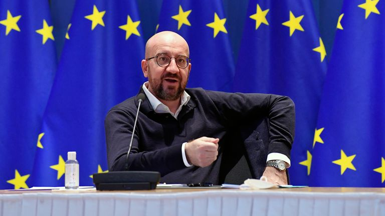 European Council President Charles Michel takes part in a video-conference meeting with the German Chancellor at the council in Brussels, Belgium March 5, 2021. John Thys/Pool via REUTERS
