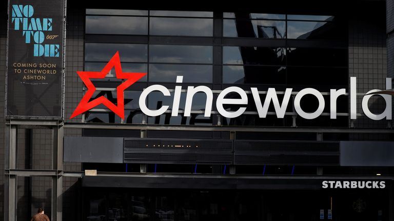 A poster for the new James Bond film 'No time to die' is seen outside a Cineworld cinema following the outbreak of the coronavirus disease (COVID-19) near Manchester, Britain, October 4, 2020