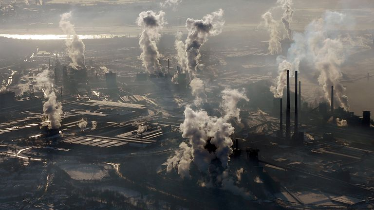 The COVID crisis triggered the largest annual drop in energy-related carbon dioxide emissions since World War 2. Pic: AP