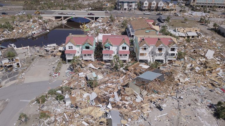 FILE PHOTO: Aerial photo shows damaged and destroyed homes after Hurricane Michael smashed into Florida's northwest coast in Mexico Beach, Florida, U.S., October 12, 2018. REUTERS/Dronebase MANDATORY CREDIT/File Photo
