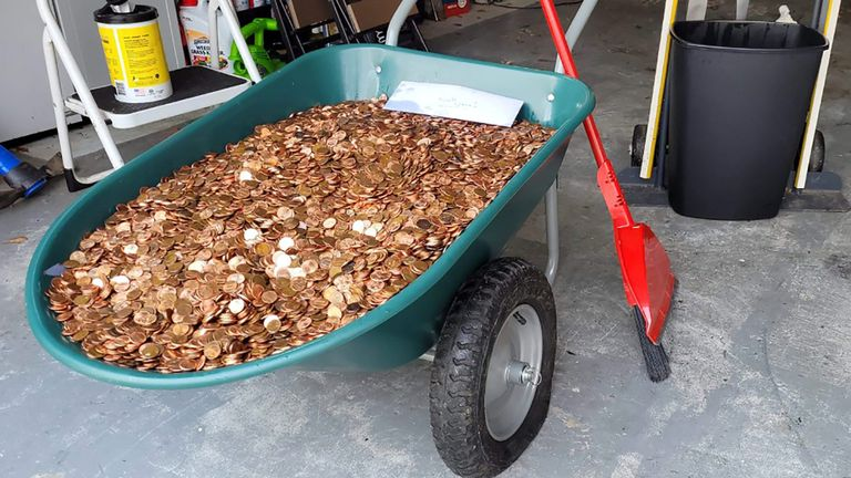 Some of the coins which were dumped on Mr Flaten's driveway. Pic: Associated Press