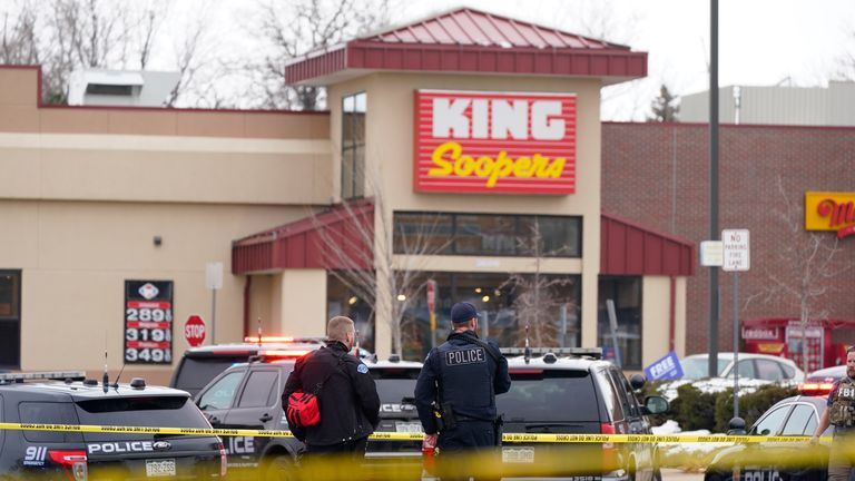 Police outside a King Soopers grocery store where a shooting took place Monday. Pic: AP
