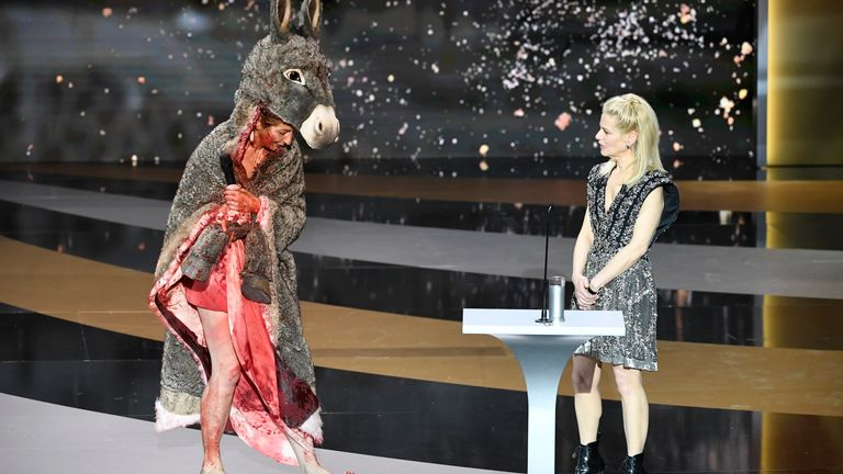 The actress Corinne Masiero first appeared on stage in a bloodied donkey skin