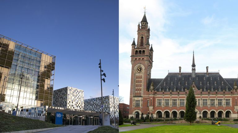 The International Court of Justice, right, and the International Criminal Court, left, are both in the Netherlands.