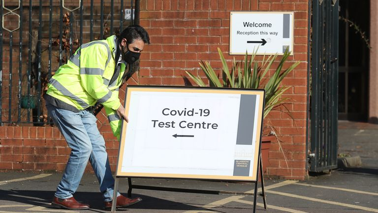 A COVID-19 asymptomatic testing centre opens at the Central Mosque in Glasgow