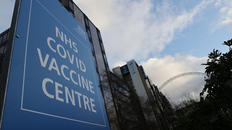 General view outside an NHS Covid Vaccine Centre near Wembley