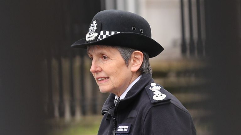 """Metropolitan Police Commissioner Dame Cressida Dick arrives at New Scotland Yard in London, the day after clashes between police and crowds who gathered on Clapham Common on Saturday night to remember Sarah Everard. The Metropolitan Police has faced intense criticism for its handling of the vigil, with officers accused of """"grabbing and manhandling"""" women during clashes with the crowd. Picture date: Sunday March 14, 2021."""