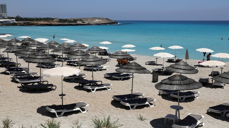 Empty sunbeds at Nissi Beach in Cyprus
